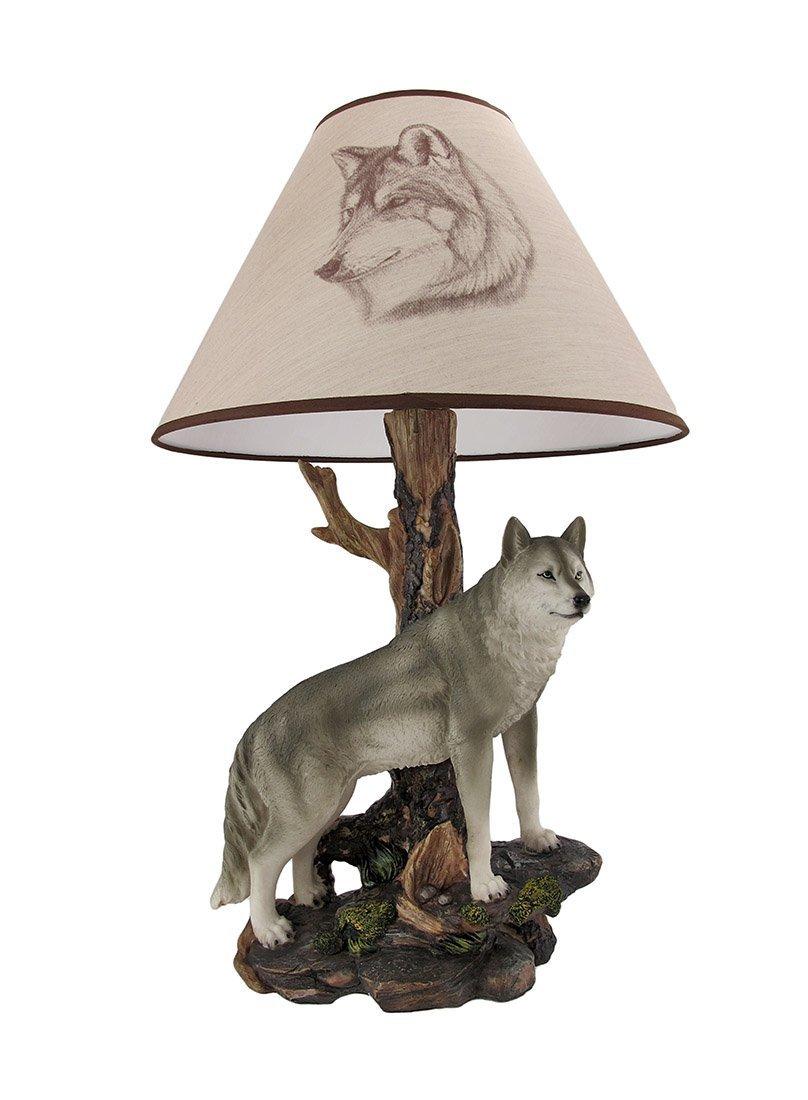 denizen of twilight gray wolf table lamp amazoncom