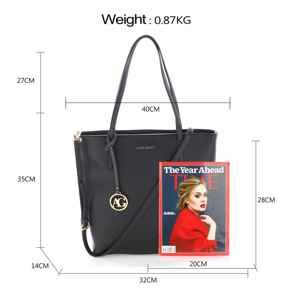925fb21794 LeahWard Women s Large Shoulder Bags Designer Shopper Bag Handbags For  School A4 Folder CW121 (BLACK)  Amazon.co.uk  Shoes   Bags