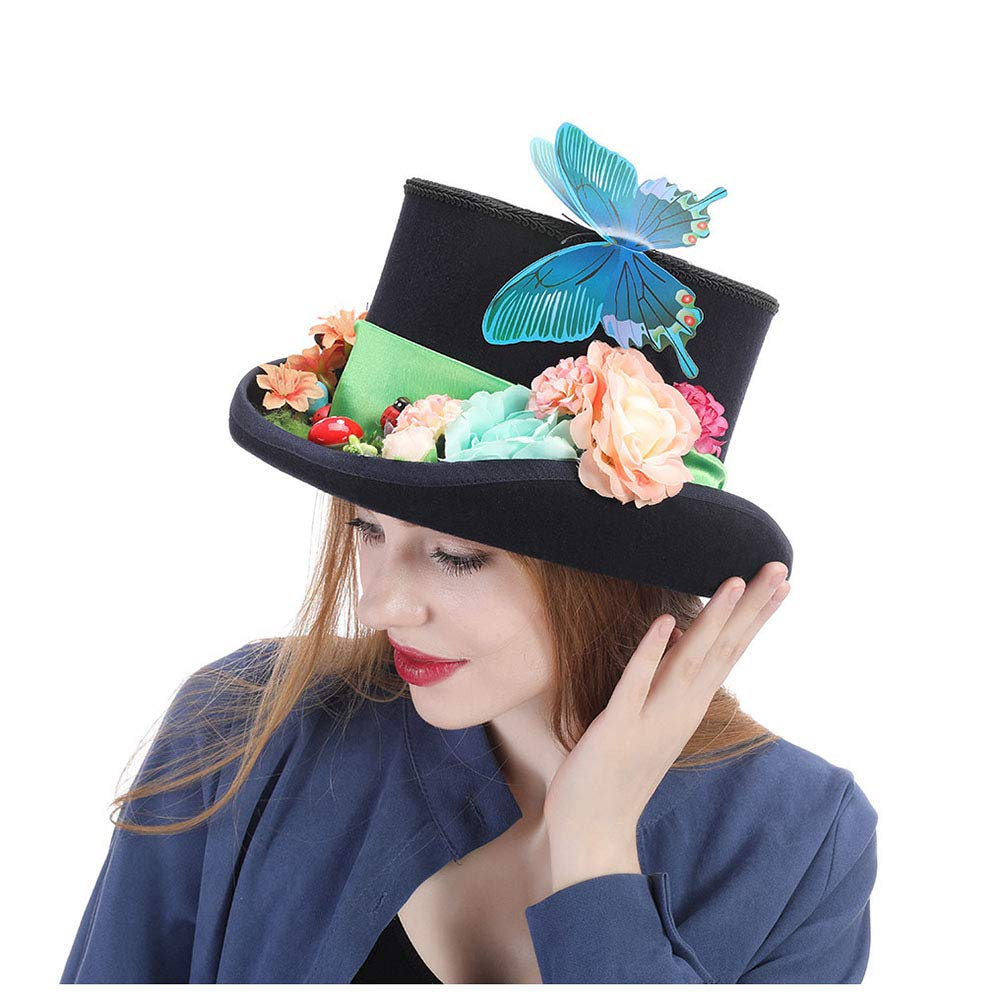 LL Women's Top Hats Steampunk Hat Vintage Wool Feathered Green Top Hat with Goggles (Color : Black, Size : 57cm)