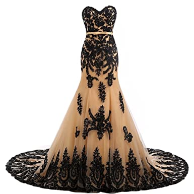 Long Mermaid Black Lace Vintage Gothic Prom Dress Wedding Evening Gown Champagne US 2