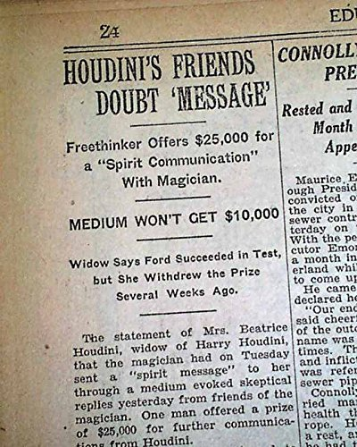 HARRY HOUDINI Spiritualist Magic Medium WIFE FRAUD ? Seance 1929 Old Newspaper THE NEW YORK TIMES, January 10, 1929