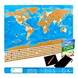 Scratch Off World Map & Poster with Country Flags, US States Outlined in Glossy Finish, Large 32.1 x 22.6 Inches, with Scratcher Pen, Wiping Cloth in Customized Gift Tube, Perfect Gift for Travellers