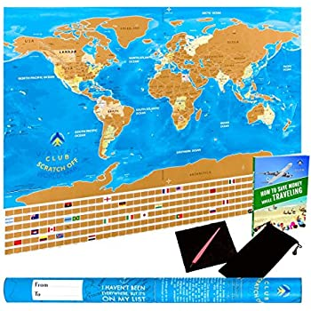 Amazon vallesh scratch off world map poster with scratcher unique scratch off world map poster with country flags us states outlined in glossy finish 321 x 226 inches with scratcher pen wiping cloth in gumiabroncs Image collections
