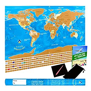 Amazoncom Unique Scratch Off World Map Poster With Country - Amazon us map