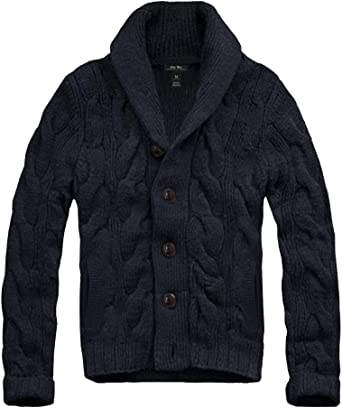 SAOL 100/% Merino Wool Mens Cardigan Sweater Zipper Cable Knit Winter Warm Jacket with Pockets