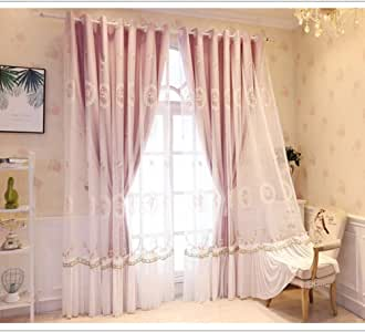 Amazon.com: XUEER Double Layer Blackout Curtain,Lace ...