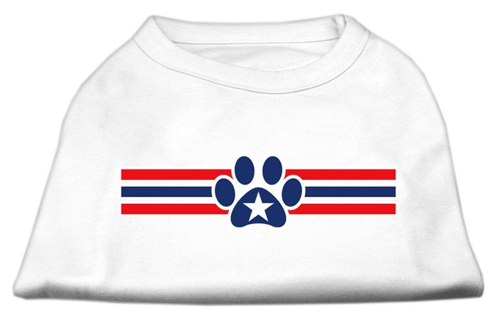 Mirage Pet Animal Gift Apparel Poly Cotton Sleeveless 20'' Patriotic Star Paw Screen Print Shirt White XXXL