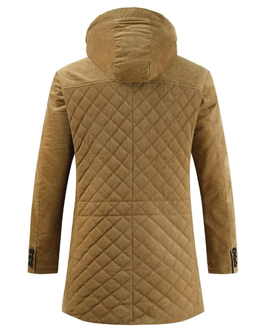 Domple Mens Quilted Outdoor Zip-Up Winter Hooded Stand Collar Long Down Jacket