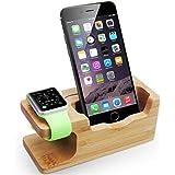 Apple Watch Ständer, WOWO iWatch Ladedock Bambus Holz Ladestation Halterung Dock Cradle Halter für Apple Watch 38mm 42mm und iPhone 7 7plus 6s 6s plus SE 6 6 plus