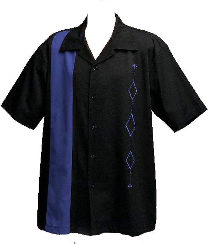 Designs by Attila para Hombre Retro Camisa de Bolos, Grande, Todos los tamaños Disponibles, Azul Real, En Negro - -: Amazon.es: Ropa y accesorios