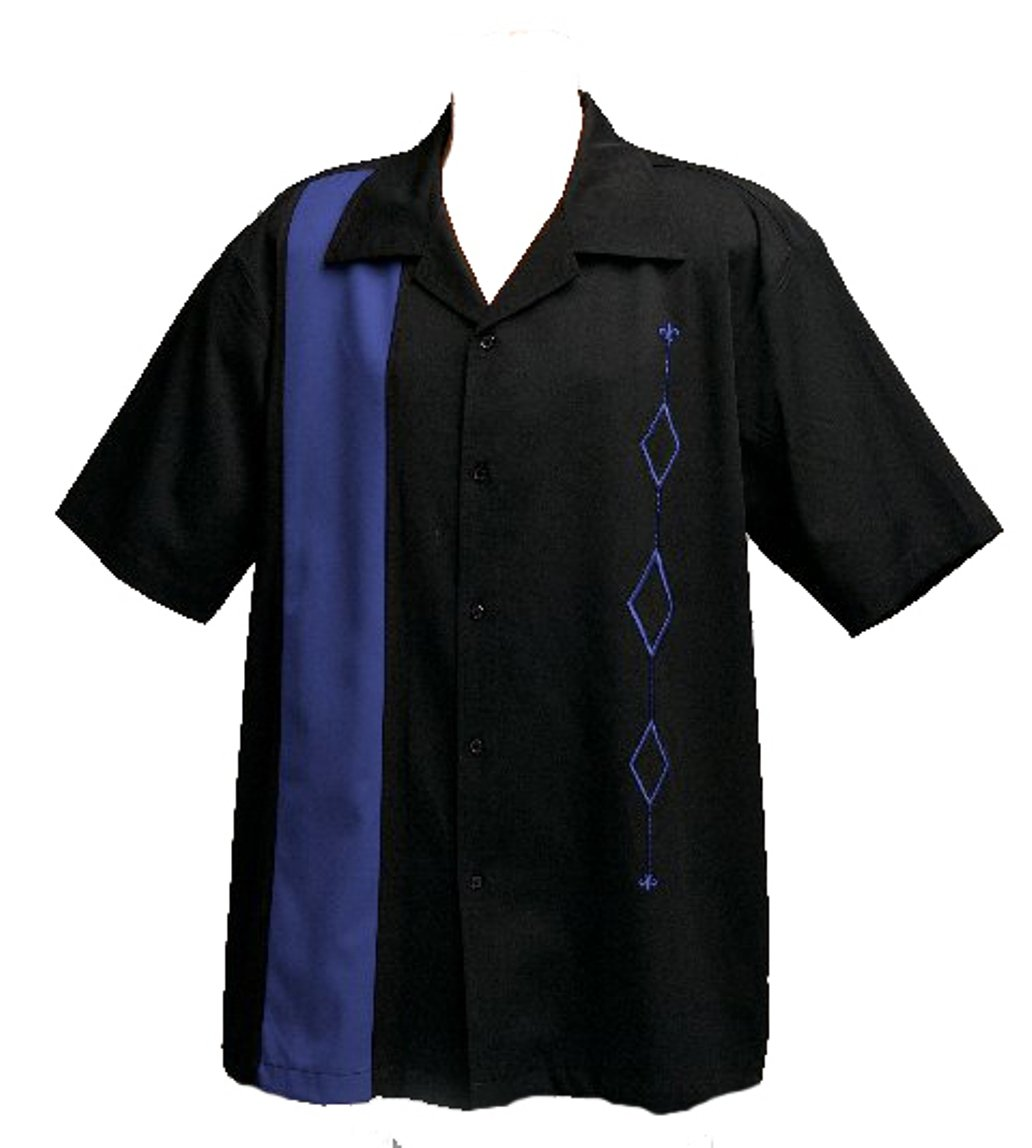Designs by Attila Mens Retro Bowling Shirt, Royal Blue and Black, Size Medium by Designs by Attila