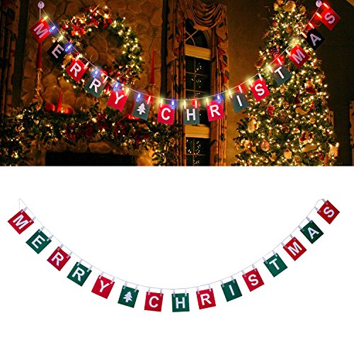 Merry Christmas Banner with 9.8FT LED Photo Clip String Lights - Powered by 2 AA Battery(Included),30 Photo Clips for Christmas Party Home Indoor/Outdoor Decorations (Multicolor)