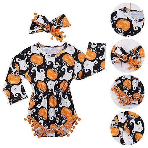 soAR9opeoF Romper Baby Girls Pumpkin Ghost Long Sleeve Romper Headband Set Halloween Costume - 80cm -