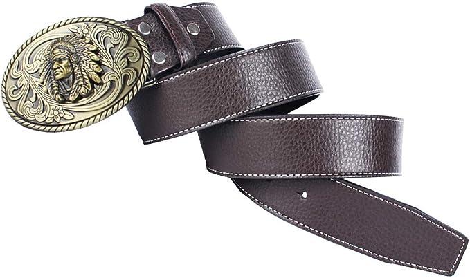 Baoblaze 1 Pieza Cintur/ón Ajustable Retro de Cuero de Fibra Universal para Hombre Mujer Jeans Pantalones Tipo Cargo Vaquero