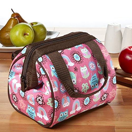 Fit & Fresh Kids' Riley Insulated Lunch Bag with Zipper, Cute School Lunch Box for Girls, Rainbow...