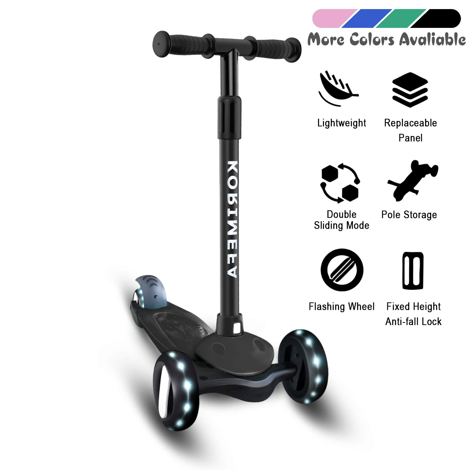 Kids Scooters Kick Scooter for Kids 3 Wheels Scooter Girls Boys Toddler Scooters 4 Adjustable Height Lean to Steer with PU Flashing Wheels Scooter for Children from 2 to 6 Years Old by Yufu