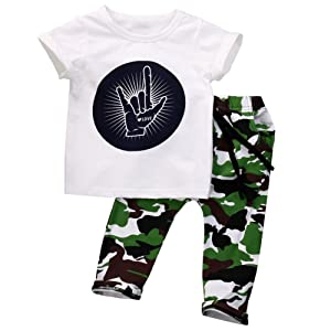 FUNOC Unisex Baby Kid's Cotton Letter Printed Tee Top + Pants Summer Set Outfits