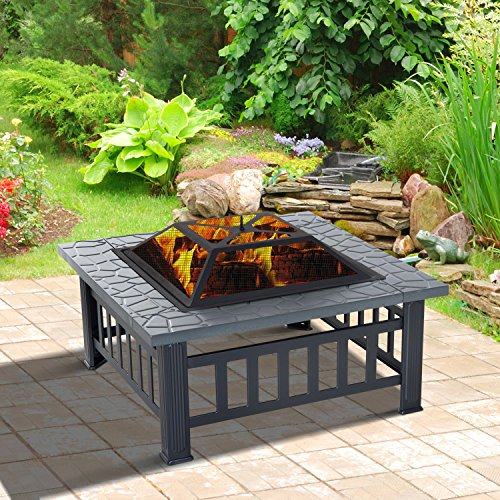 Clever Market Outdoor Patio Fireplace Endless Summer Home Garden Backyard Wood Burning Metal Square Heater Fire Pit Black 32