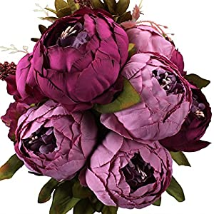 Duovlo Fake Flowers Vintage Artificial Peony Silk Flowers Wedding Home Decoration,Pack of 1 (Purple) 46
