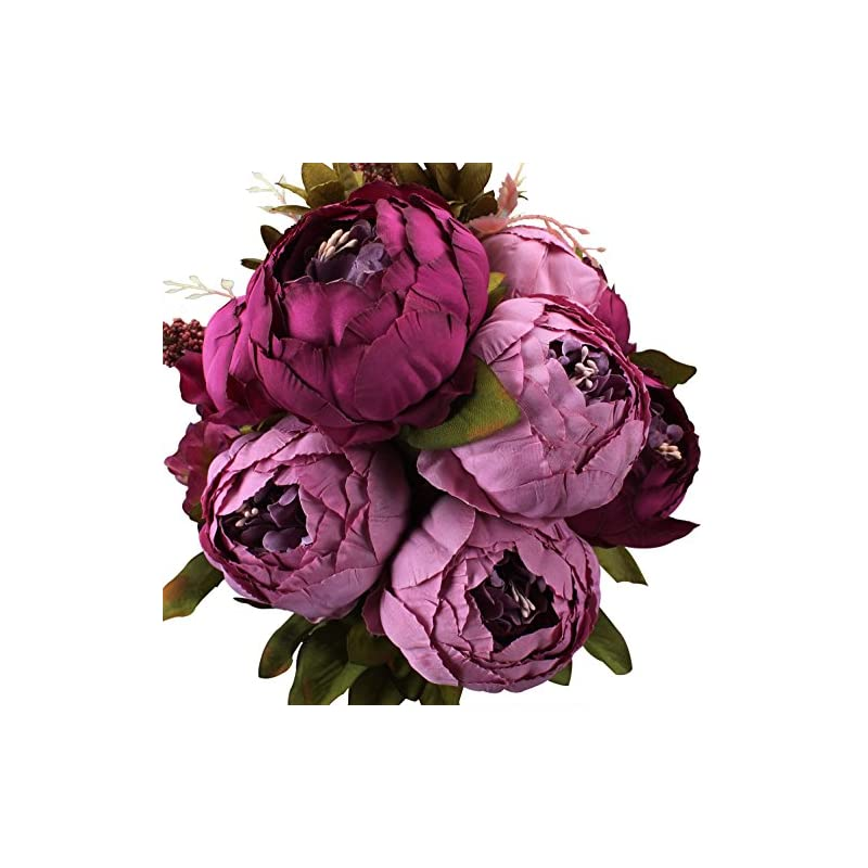 silk flower arrangements duovlo fake flowers vintage artificial peony silk flowers wedding home decoration,pack of 1 (purple)