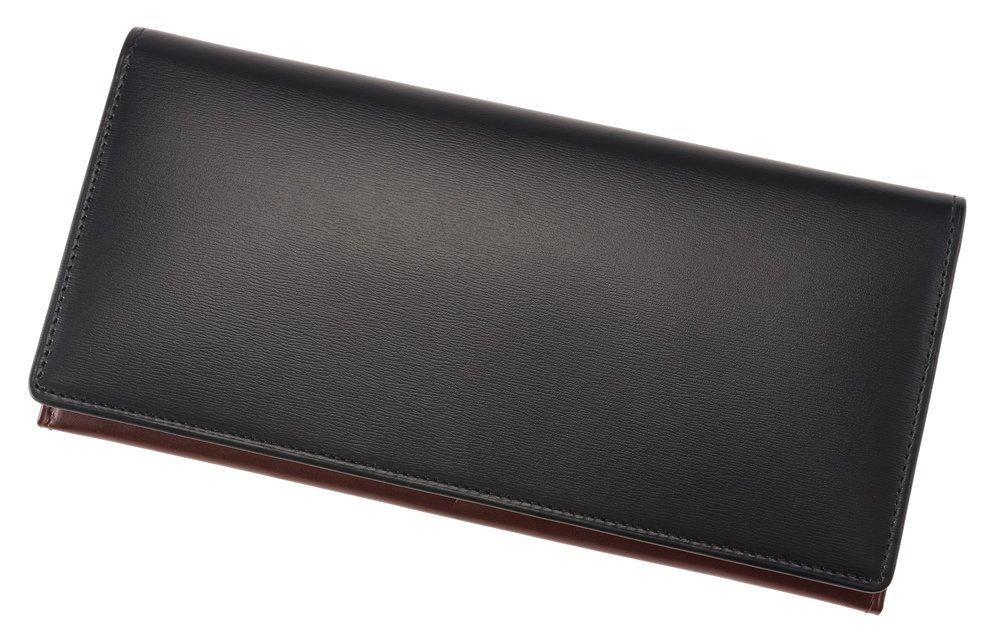 【CYPRIS COLLECTION】長財布(小銭入れ付きササマチ束入)■ボックスカーフ&リンピッドカーフ 4685 B07F2459V8 ブラック/チョコ ブラック/チョコ