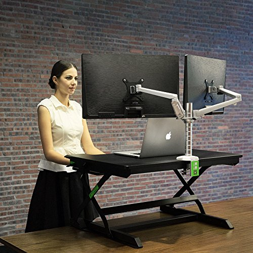 minicute Height Adjustable Standing Computer Desk Ergonomic Sit to Stand fits Dual Monitor Spring Riser 32'' Workstation Dual Monitor Desktop Lifter With Keyboard Tray For Office home- Black by MINICUTE (Image #1)