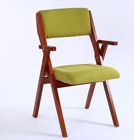 Amazon.com: Silla plegable de madera madera maciza silla ...