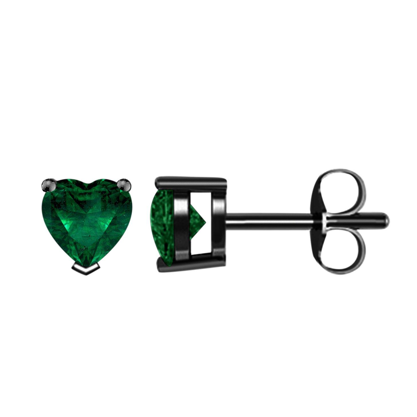 14K Black Rhodium Plated CZ Stud Earrings Clear Emerald CZ Stud Ear Stud 4mm To 8mm