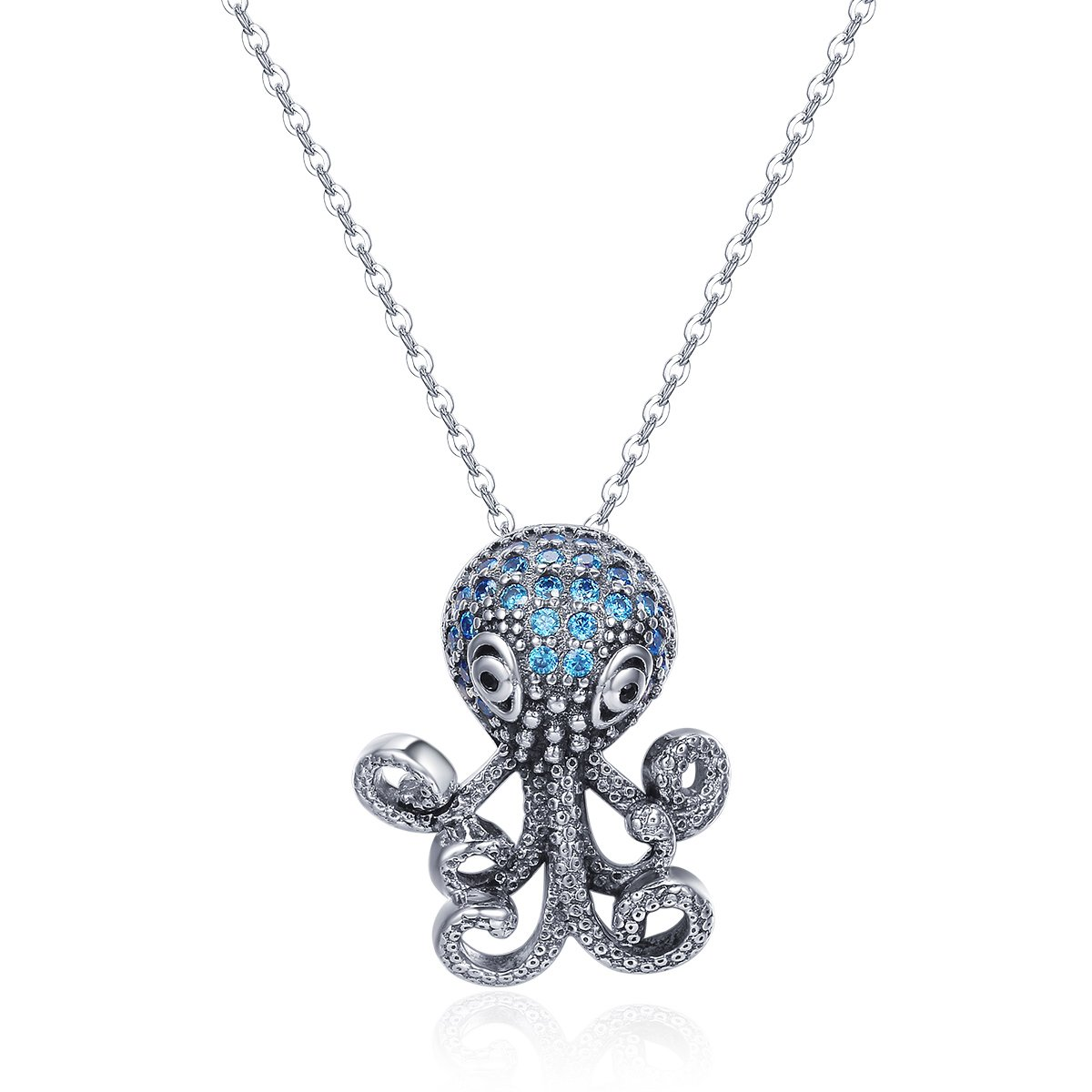 100% 925 Sterling Silver Fancy Octopus Marine Animal Clear CZ Pendant Necklace Vintage Punk Style Silver Jewelry NewL necklace-79