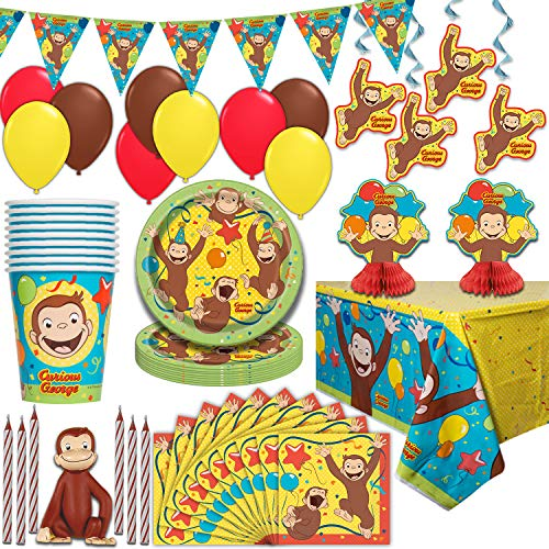 Curious George Party Supplies, Serves 16 - Plates, Napkins, Tablecloths, Cups, Balloons, Hanging Decorations, Centerpieces, Flag Banner, Candles, Cake Topper - Full Tableware set for birthday parties and more
