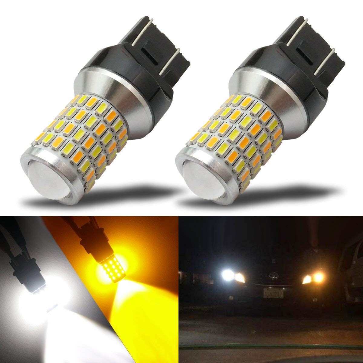 iBrightstar Newest Super Bright 7443 7444NA Switchback LED Bulbs with Projector Replacement for Daytime Running Lights/DRL and Turn Signal Lights, White/Amber