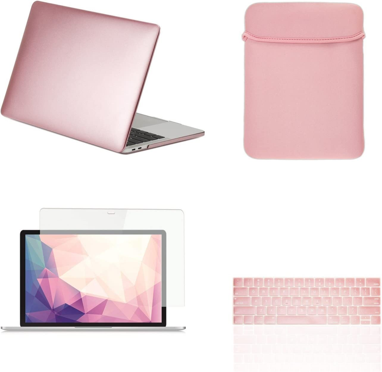"""TOP CASE MacBook Pro 13 inch Case 2019 2018 2017 2016 Release A2159 A1989 A1706 A1708, 4 in 1 Essential Rubberized Hard Case, Keyboard Cover, Screen Protector, Sleeve for MacBook Pro 13"""" - Rose Gold"""