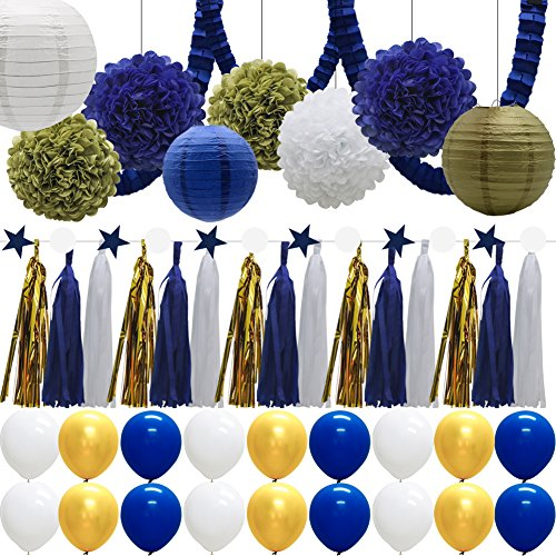 43pcs Paper Lanterns Tissue Flowers Pom Poms Party Decorations Tassel Garland Banner Clover Garland Balloons for Bridal Shower Graduation Bachelorette Celebrate First Birthday (Navy Blue, Gold) -