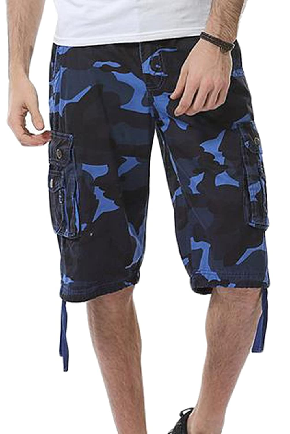 ARRIVE GUIDE Men's Cotton Baggy Camo Multi-pocket Knee Length Cargo Short low-cost