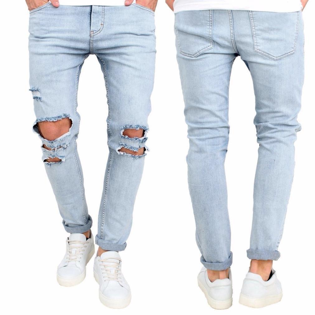 Pantalones Vaqueros Rotos Hombre Jeans Pantalones Vaqueros ...