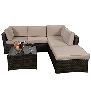 Amazoncom Giantex 4pc Patio Sectional Furniture Pe Wicker
