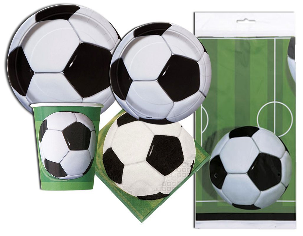 Soccer Deluxe Party Pack Serves 16 Plates Cups Napkins & Tablecloth
