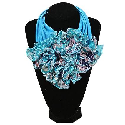 019a190cd85 Shoresu Womens Floral Collar Scarf Luxury Flower Printed Neckerchief Ring  Neck Scarves 14#