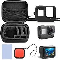 Nasjac Estuche compatible con GoPro Hero 8 negro y accesorios, perfecto para viajes y almacenamiento, vidrio templado de dureza 9H + estuche de silicona premium + filtro de lente ROJO profesional, accesorios para cámara de acción Go Pro Hero 8