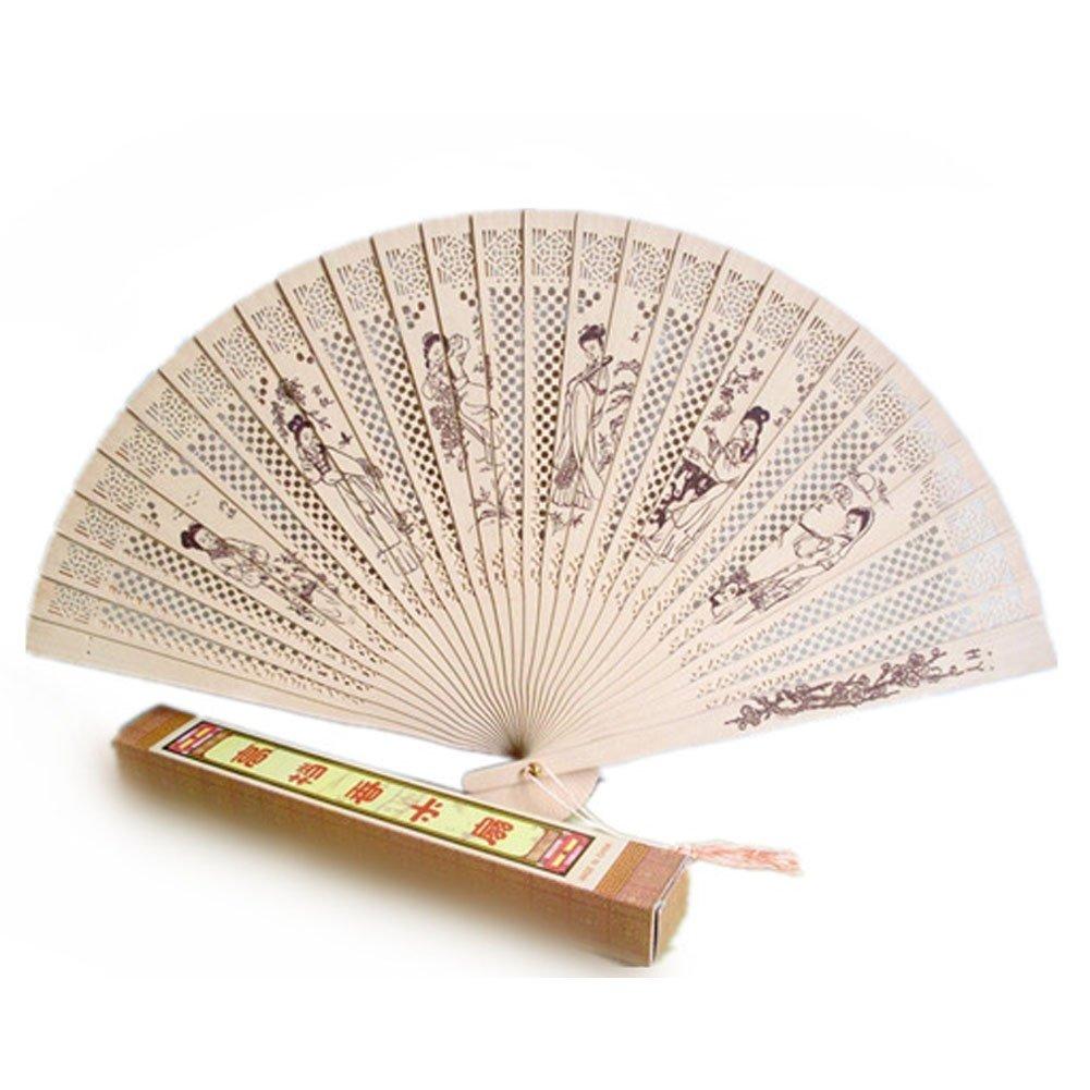Netter chinesischer Hand Sandelholz Fan mit geschnitzten Muster (Twelve Beauties)