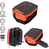 universal travel adapter Armour Travel Power Car Charger Wall Adaptor with 2.5A Dual USB Ports for Phone/Camera/Laptop/Best All in One International Travel Plug (US/EU/UK/AU) (Orange)