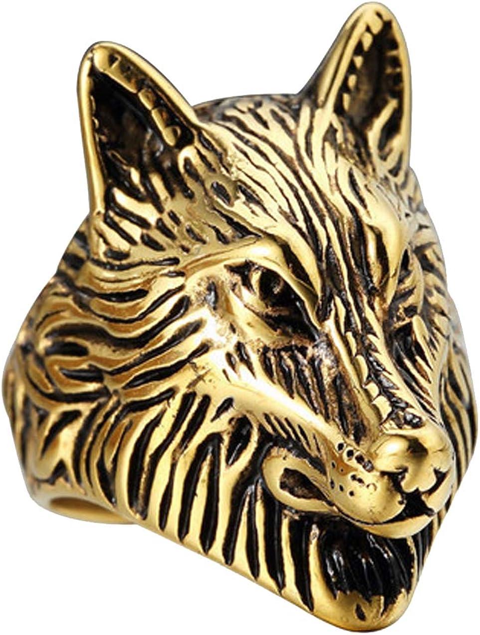 PAURO Men's Stainless Steel Gold Plated Vintage Wolf Head Biker Ring