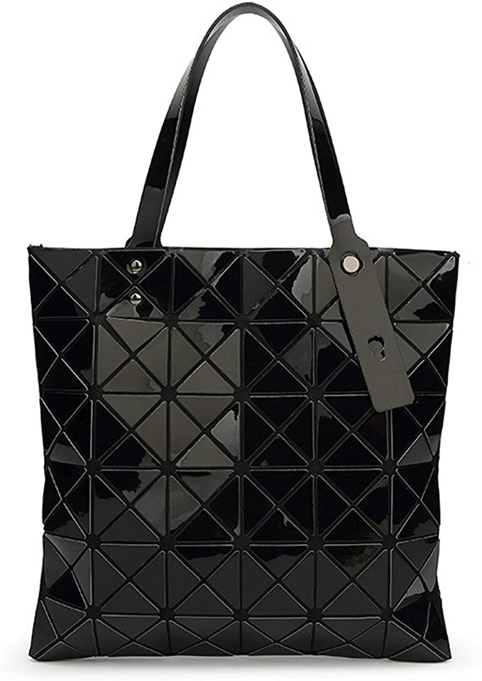 Amazon.com: Women Handbags Geometric Plaid Folded Shoulder ...