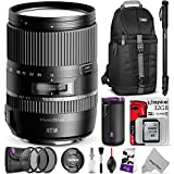 Tamron 16-300mm f 3.5-6.3 Di II VC PZD Macro Lens for CANON DSLR Cameras w Advanced Photo and Travel Bundle