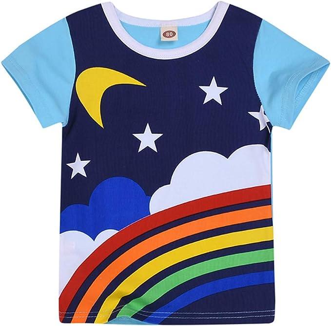 PinkLu Bebé niño Manga Corta 2019 Nuevo o-Cuello Niños niñas Arcoiris Luna Sol Impresa Camiseta Tops Ropa: Amazon.es: Ropa y accesorios