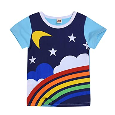 a2ea0b2062d1b 2019 Hot Sale!Cuekondy Toddler Baby Girls Boys Kids Rainbow Moon Sun  Printed Short Sleeve