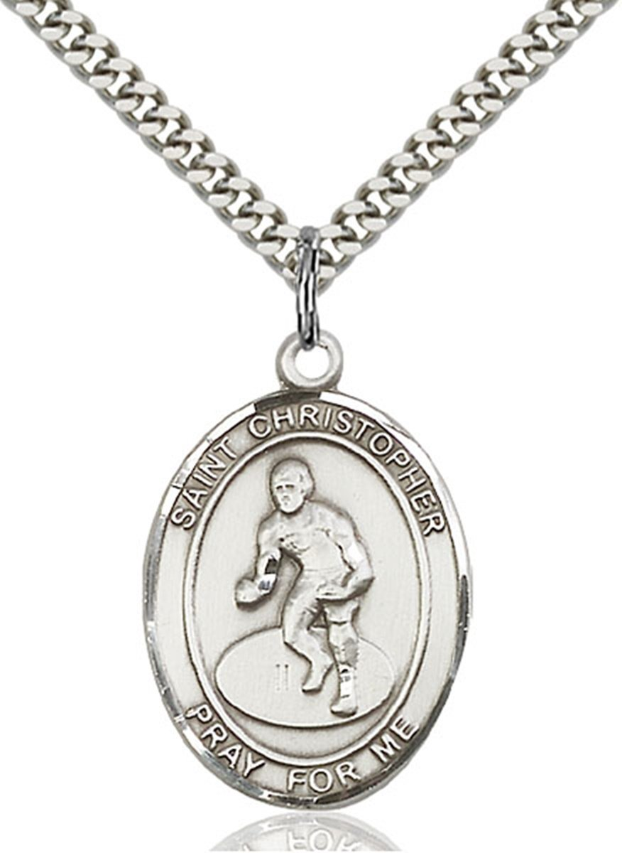 Sterling Silver Saint Christopher Wrestling Sports Athlete Medal, 1 Inch by Patron Saints by Bliss