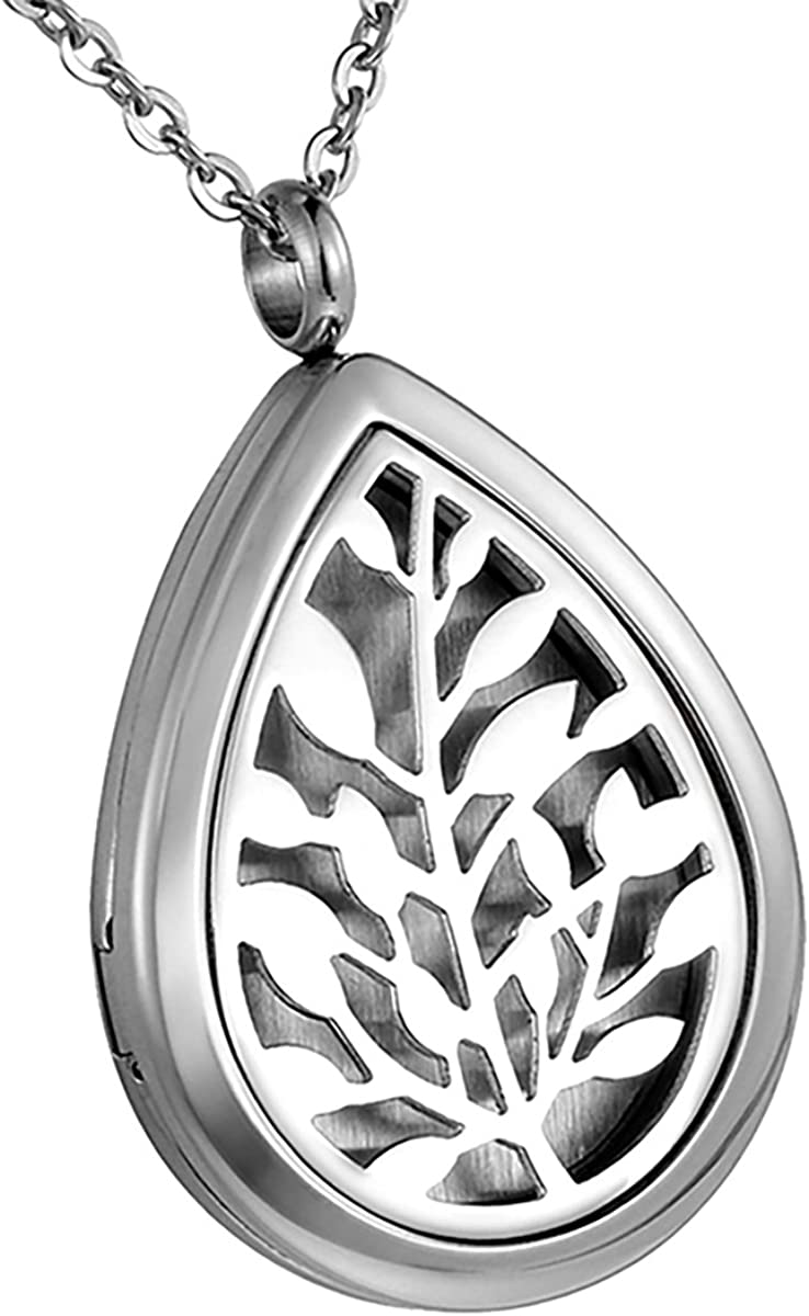 HooAMI Aromatherapy Essential Oil Diffuser Necklace Tree of Life Waterdrop Locket Pendant