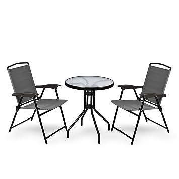 WUBOX Gartenmöbel Set - Sitzgarnitur mit 60 cm Gartentisch rund aus ...