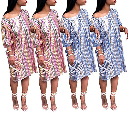 Paillettes Moda Spiaggia Corta Da Collo Festa Manica Patchwork Vacanza Casual Righe Vestito Multicolore Corto Partito Donna Cocktail Vestiti Estivo Abito Rotondo qwFY1w